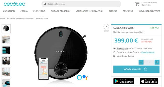 pagina de ventas Cecotec - Conga 3490 Black Friday 2019 Amazon